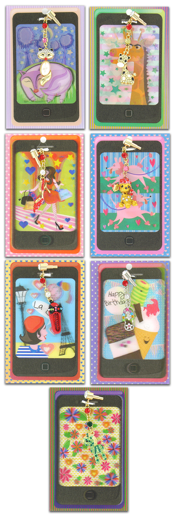 3D mobile charm cards