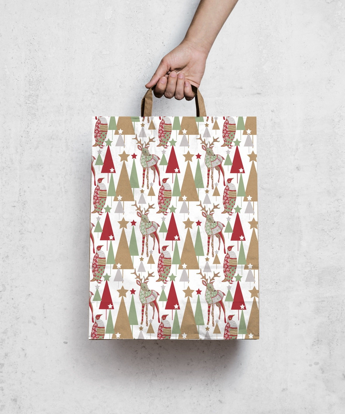 woodland xmas pattern mock up bag